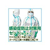 【N95】 新型インフルエンザ感染予防対策セット【セット1】(N95マスク2枚+手袋1双+無気孔ゴーグル1個+化学防護服1枚:防護服Lサイズ)