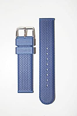 Click for 18mm Blue Rubber/Silicone Tire Tread Watchband Michele Style