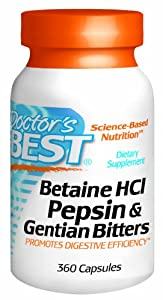 Doctor's Best Betaine HCI Pepsin and Gentian Bitters Capsules, 360 Count