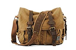 Sechunk Vintage Military Leather Canvas Laptop Bag Computer Bag Messenger Bags Shoulder Bag Cross body Bag Satchel Bag Book bag Working Bag Sports Bag School Bag (Large--17\'\', Brown)