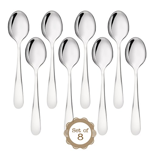ONUBU Demitasse Espresso Mini 18/10 Stainless Steel Bistro Spoon, 10.4 cm (4 Inch), Set of 8