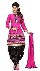 Krishna Fashion Women's Cotton Unstitched Dress Material (hari 1009_Pink Black_Free Size)