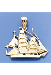 Gold Nautical Charm Pendant Sailing Ship 2-D & High Polish