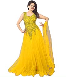 Pashimo Net Fabric Gown For Women ( Gowns with Dupatta _ Gown for Girls _ Gown for Women Party Wear ) (Yellow)