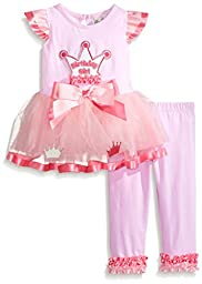 Rare Editions Baby Baby Girls\' Crown Applique Tutu Legging Set, Pink, 24 Months