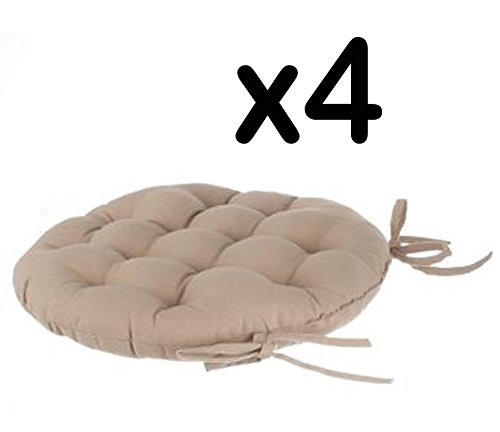 Lot De 4 Galettes Chaise Ronde En Coton Coloris LIN