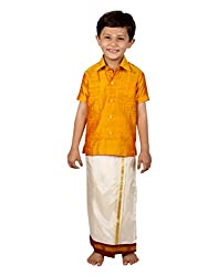 Thangamagan Boy's Shirt/Dhoty Regular Fit(Yellow,Age : 12 to 13 Years)