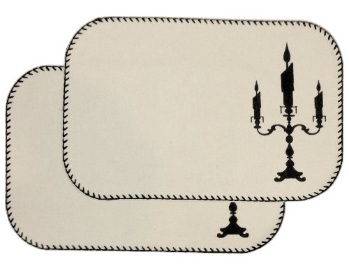 """Favorite Haunt Collection Set Of 2 Candelabra Batty Halloween Harvest Placemats - 12X18"""" front-834102"""