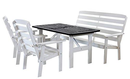90313 4-teilig Garten Sitzgruppe Essgruppe Loungegruppe Gartenmöbel Essgarnitur Hanko Maxi, weiß