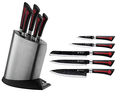 Imperial Collection 6 Piece Knife Set Including Stainless Steel Knife Block - Extremely Sharp High Quality Stainless Steel NonStick Coating Kitchen Knives With A Great Grip (Red/Black)