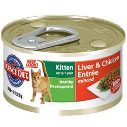 Hill's Science Diet Minced Liver And Chicken Entree Kitten Formula Canned Cat Food