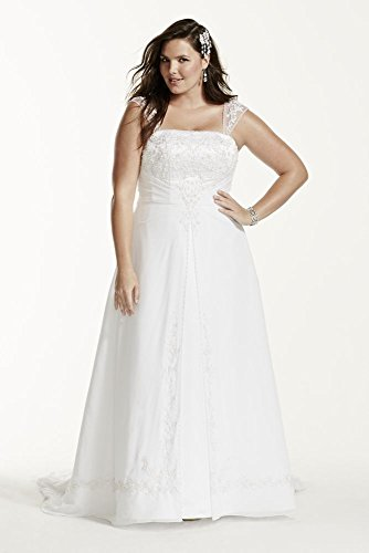 Plus Size Wedding Dress Extra Length A-line with Chiffon Split Overlay Style...