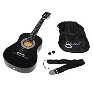 Ts-Ideen 5276 Children's Half-Size Acoustic Guitar for 6 - 9 Year Olds with Guitar Bag / Strap / Spare Strings Black