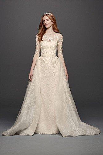 Oleg Cassini Quarter Sleeved Lace Wedding Dress Style CWG740, Ivory, 10