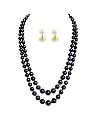 Jpearls Preeminent 2 Line Black Pearl Set