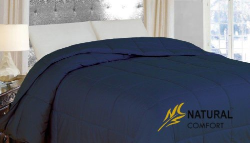 Natural Comfort Light Weight Filled Down Alternative Comforter With Embossed Microfiber Cover, Twin, French Mediterranean