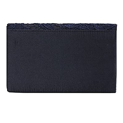 Clorislove Ladies Satin Lace Envelope Clutch Bag Evening Bridal Wedding Handbag Prom Bag (Navy Blue) - more-bags