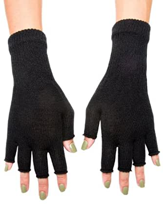 American Apparel Unisex Wool Blend Fingerless Gloves - Black / One Size