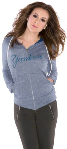 New York Yankees Women's Tried and True Tri-Blend Full-Zip Hoodie - by Alyssa Milano at Amazon.com