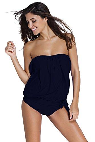 Aleumdr Women Bandeau Top Triangle Briefs Swimsuits Tankini Blue,Dark Blue,(US18-20)XX-Large