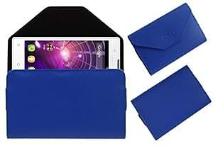 Acm Premium Flip Flap Pouch Case For Spice Stellar Mi497 Mobile Leather Cover Magnetic Closure Blue