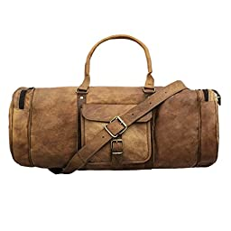 Handmadecart Leather Duffel Bag for Men and Women Overgnight Duffel Bags Weekend Diaper Travel Luggage Gym Tote Bag Tan (Round Corner)