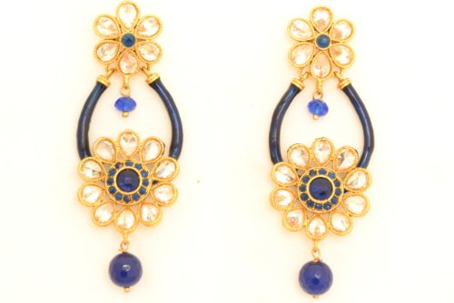 Fashion Balika Fashion Jewelry Gold-Plated Dangle & Drop Earring For Women Blue-BFJER025 (Yellow)