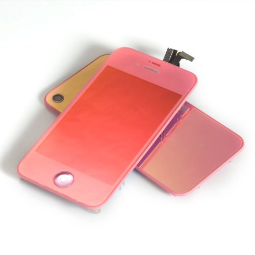 Plated Mirror Lcd Display And Touch Screen Digitizer Glass Assembly +Home Button For Iphone 4 4G Gsm With Free Tools- Mustpoint (Pink)