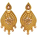 Colors TV Navrang Collection Beige Stone Studded Elegant Pair Of Dangler Earrings by Voylla For Women