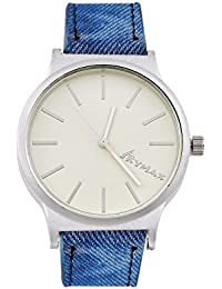 SHVAS - SKYMAX Round White Dial Unique Concept Exclusive Watch With Denim Finish Belt -- Best Quality (SKYDENIM)