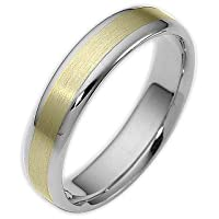 Traditional Style 5mm Two-Tone 14 Karat Gold Comfort Fit Wedding Band Ring