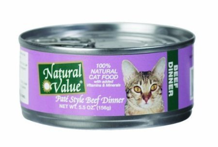 Natural Value Cat Food, Pate Style Beef Dinner, 5.5-Ounce Cans (Pack Of 24)