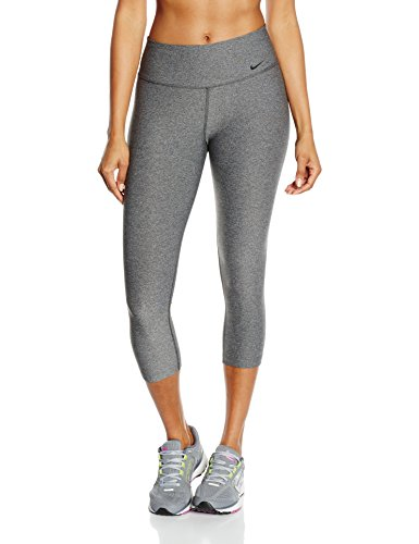 New Nike Women's Legend 2.0 Tight Poly Capri Charcoal Heather/Black Small