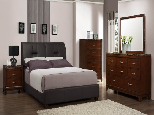 Bleeker 5 Pc Cal King Bedroom Set With 2 Nightstand By Home Elegance In Brown Cherry