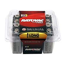 Rayovac Alkaline 9V Batteries, 8-Pack with Recloseable Lid (AL9V-8)