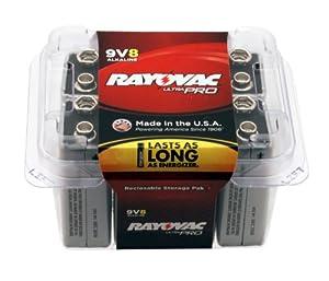 Rayovac UltraPRO Alkaline 9V Batteries, AL9V-8, 8-Pack