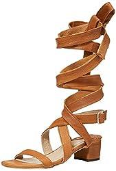 Brother Vellies Womens Burna 85 Wrap Dress heeled Sandal, Whiskey, 8 M US