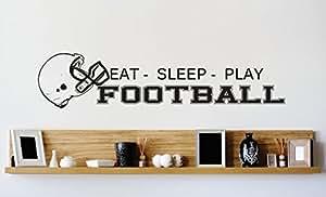 Vinyl Wall Decal Sticker Football Helmet Mens Boys Kids Sports Image Quote