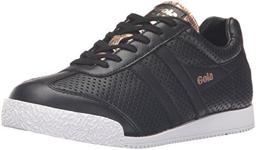 Gola Women's Harrier Glimmer Leather Fashion Sneaker, Black/Rose Gold, 8 M US