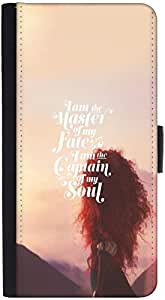 Snoogg Captain Of My Soul Graphic Snap On Hard Back Leather + Pc Flip Cover H...