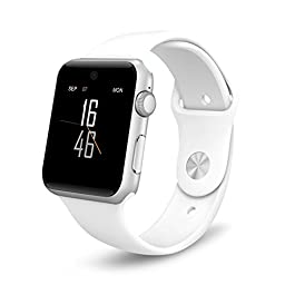 PowerLead PL-SW25 Bluetooth Wearable Devices Smart Watch/Watch Phone Support SIM Card Smartphone Fitness Tracker For IOS Android/ White