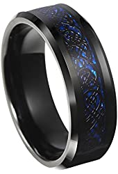 8mm Blue Black Silvering Celtic Dragon Tungsten Carbide Ring Wedding Band Size 6-13