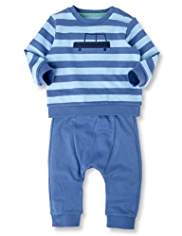 2 Piece Pure Cotton Striped Jumper & Joggers Outfit