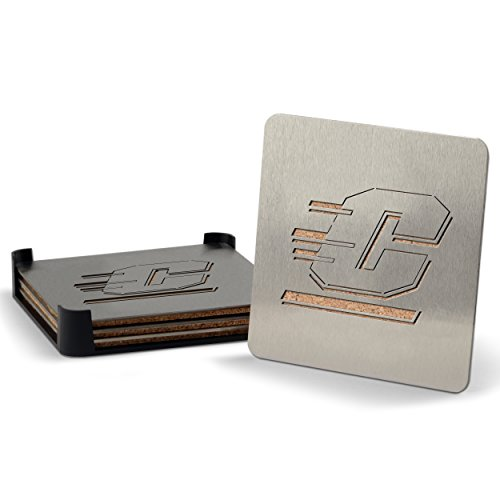 NCAA Central Michigan Chippewas Boasters, Heavy Duty Stainless Steel Coasters, Set of 4 (Central Kitchen compare prices)