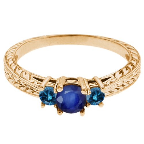 0.60 Ct Round Blue Sapphire Diamond 14K Yellow Gold 3-Stone Ring