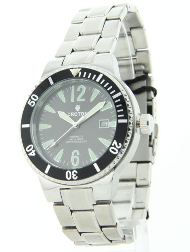 Croton Men's CROTON-CA301181SSBK Aquamatic Silver/Black Stainless steel Watch
