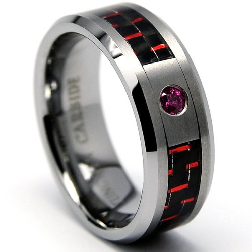 8MM Tungsten Carbide Ring LIGHT RED RUBY STONE .050 Carat & BLACK/ RED Carbon Fiber Inlay Wedding Band Size 10