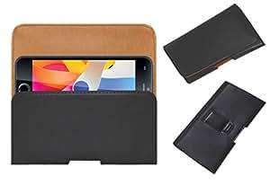 Acm Belt Holster Leather Case For Iball Cobalt 4.7D Oomph Mobile Cover Holder Clip Magnetic Closure Black