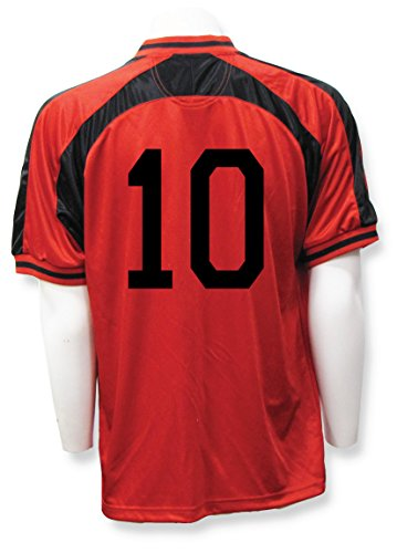 Old School Soccer / Football Jersey, Customized With Your Number On Back- size Adult XL - color Red/Black (Numbered Shirts compare prices)