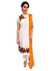 1 Stop Fashion Be the most stylish version of yourself by adding this apparel to your look. This Cotton dress material can be stitched as your choice and style. White top is designed with Thread Embroidery work. Orange bottom is Cotton and Orange dupatta is made of chiffon. Accessories shown in the image are for photography purpose. (Slight color variation is possible)